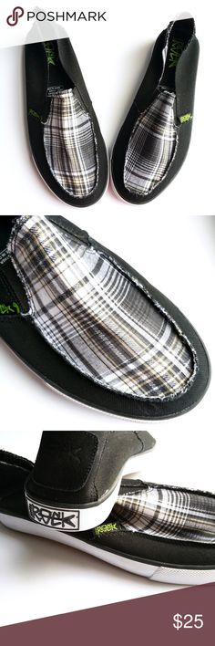 🥀HP - Gotta Rock Black Surf Wave Loafers These are mens black plaid loafer slip on shoes. They have a collapsible heel counter that lets you wear them like flip flops! Cushy foot bed.  Size: 9M  New without tags. Gotta Rock Shoes Loafers & Slip-Ons