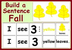FREE! Build a Sentence - Fall #free #fall For more resources follow https://www.pinterest.com/angelajuvic/autism-special-education-resources-angie-s-tpt-sto/