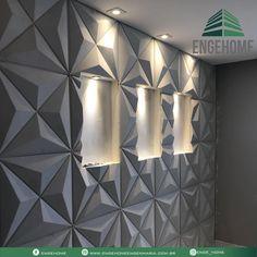 Já faz um tempo que as paredes de gesso 3d tem se tornado as queridinhas para sala de estar e jantar. A diferença entre o gesso 3D e o… Decor, 3d Wall Decor, Wall Decor, 3d Wall Panels, Wall Murals, Wall Tiles, Texture Inspiration, Wall Patterns, Home Interior Design