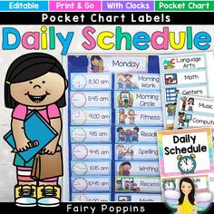 Editable Daily Schedule Pocket Chart Visual Timetable - Home Schooling İdeas School Schedule Printable, Classroom Schedule, Preschool Schedule, Schedule Cards, Kids Schedule, Classroom Jobs, Home School Schedule, Kindergarten Classroom, Classroom Organization