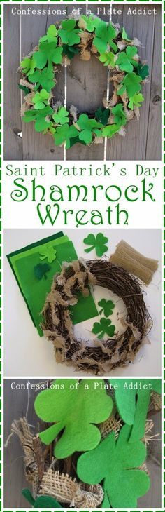 CONFESSIONS OF A PLATE ADDICT Easy Shamrock Wreath and $500 Pot O' Gold Giveaway!