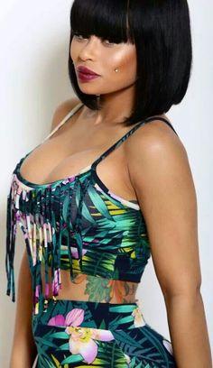 Black Chyna, love her hairstyle ^-^ so cute Chinese Bob Hairstyles, American Hairstyles, Summer Hairstyles, Angela Renee White, Black Girls, Black Women, Sexy Women, Black Chyna, Swag