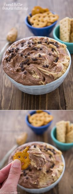 Peanut Butter Brownie Batter Dip - totally from scratch, this dip is perfect for any party!