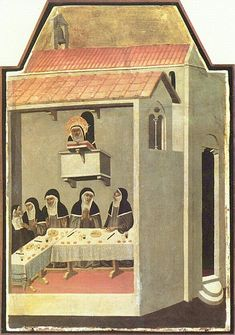 Nuns dining in silence while listening to a Bible reading. Note the use of hand gestures for communicating; The Life of Blessed Saint Humility by Pietro Lorenzetti, 1341.