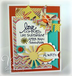 Susan Lilies: susiestampalot.com.  Verve Stamp:  Stronger Love. Paper: White, Orange Zest, PTI-Hawaiian Shore, MME-Happy Days 6x6, Echo Parkj-Dots Ink: MFT-Black Licorice Black. Dies: Verve A Cut Above: Pennant Trim, YNS-Pinwheel, LID-Sun. Circle Punches, Corner Rounder,  Sewing Machine/Thread, Washi Tapes, Buttons, TCP-Yellow Divine Twine, Hot Glue. Size: A2. SUSIE Q-TIP-washi tape: corner accent pull back-rolly edge-rub finger over edge backwards: adds texture.