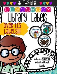 """Keeping an organized library is essential! This product will help keep your classroom library organized while keeping it visually appealing & inviting for students!  This product contains editable file with the following: ♥ 118 basket labels, 4.5"""" diameter ♥ 118 matching labels to print on Avery 5160 & adhere to books. Students can just look at the label & put the book back in the correct bin! ♥ Directions & info about labels!                                From Owl in a Vowel Tree"""