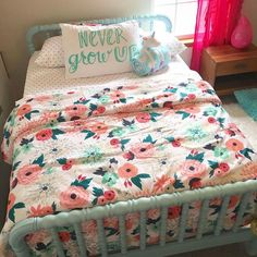 When she has a room at Auntie's house (target bedding, Emily's unciorn holding blankie. Big Girl Bedrooms, Little Girl Rooms, Girls Bedroom, Bedroom Decor, Bedroom Ideas, Bedding Decor, Budget Bedroom, Small Bedrooms, My New Room