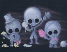 Lowbrow Sugar Fueled Ghoulish Delight Ghosts Haunted Mansion creepy cute big eye art print on Etsy, $12.00