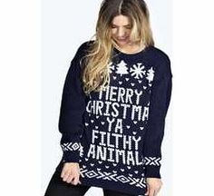 boohoo Merry Christmas Ya Filthy Animal Jumper - navy Go back to nature with your knits this season and add animal motifs to your must-haves. When youre not wrapping up in woodland warmers, nod to chunky Nordic knits and polo neck jumpers in peppered mar http://www.comparestoreprices.co.uk/womens-clothes/boohoo-merry-christmas-ya-filthy-animal-jumper--navy.asp