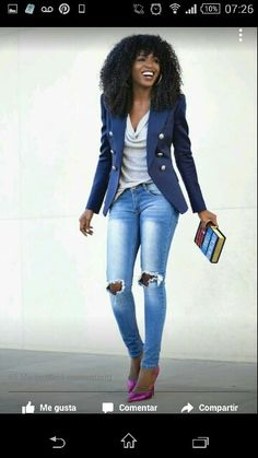 A Blazer & Pumps For This Casual Friday Look! My Style In . Added a blazer & pumps for this casual Friday look! My Style in jeans and blazer outfit woman - Woman Jeans Look Fashion, Autumn Fashion, Womens Fashion, Fashion Trends, Ladies Fashion, French Fashion, Fashion Ideas, Fashion Beauty, Casual Wear