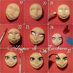 Elsa face tutorial 1 Diy Ooak Doll, Ooak Dolls, Frozen Cake, Frozen Party, Marzipan, Elsa Face, Polymer Clay Fairy, Elfa, Clay Fairies
