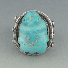 Ring with carved turquoise frog Leekya Deyuse Shiprock Gallery Santa Fe