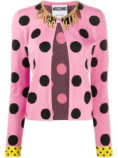 Pink/black cotton polka dot fitted jacket from Moschino featuring polka dot print, contrasting cuffs, chain-link detailing, logo charm, long sleeves, straight hem and round neck. Polka Dot Print, Polka Dots, Burlesque, Black Cotton, Moschino, Boutique, Pink Black, Shawls, Long Sleeve