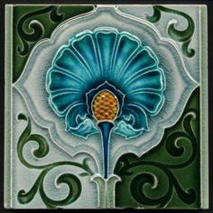Antique Richards Art Nouveau Majolica Ceramic Tile