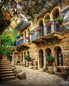 Lebanon A very beautiful traditional village house by Beautiful Buildings, Beautiful Places, Wonderful Places, Boho Home, Village Houses, Abu Dhabi, Traditional House, Belle Photo, Old Houses