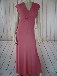 TALBOTS Dress 12 Pullover Salmon Pink Rayon Poly Stretch Knit Sleeveless Maxi