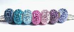 CHOOSE YOUR COLOR Solid Genuine Swarovski Pave crystal Bead with 925 Sterling Silver Core Fits Pandora trollbeads chamilia charm bracelet. $13.58 CAD