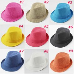 2016 Solid Color Baby Fedora Hat Kids Linen Hemp Jazz Cap Children Top Hat  Baby Sun b1d3493dc269