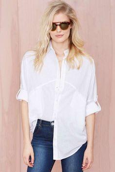 Melanie Button Up Shirt - White - Shirts + Blouses