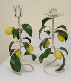 Italian Tole LEMON Candle Holders Cottage CHic by chictrezures, $75.00