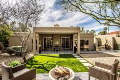 Contemporary Yard with Eldorado Outdoor Marbella Artisan Fire Bowl, Pathway, Triconfort Hardy Dining Armchair, Fire pit