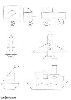 Раскраска Корабль, самолет, ракета по точкам