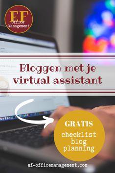Bloggen met je virtual assistant | EF Office Management Blog Planning, Virtual Assistant, Content Marketing, Office Management, Meet, Blogging, Inbound Marketing