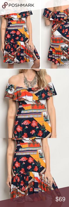 ON THE WAY! Off Shoulder Floral & Patchwork Dress Arriving Wednesday!  95% VISCOSE 5% SPANDEX. I am obsessed with off shoulder dresses and tops and this is one of my favorites! Unique design with floral and patchwork pattern design. Cant wait to receive so i can add one to my wardrobe. I will be adding additional photos once they arrive! If purchased now will ship out Thursday! Comment below to be notified upon arrival. Dresses