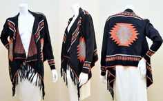 Windsor Black / Orange Asymmetrical Cardigan Sweater Aztec Tribal Print S  #fashion  #nyfw #handmade #style #ny