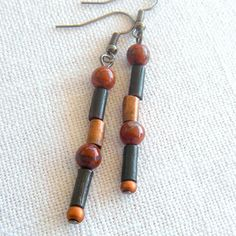 Black and Brick Red Earrings Linear Tribal by StoneBoneAndButton