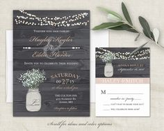 Rustic Wedding Invitations Set Rose Gold Mason by NotedOccasions
