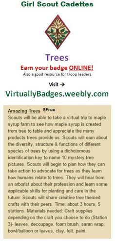 Trees Girl Scout Cadette badge earned online!
