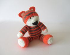 Toby the Tiger toy knitting pattern by fluffandfuzz on Etsy