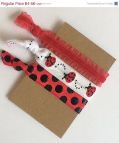 Hair Ties Destash Sale Red, White and Black Ladybugs and Polka Dots Elastic Hair Ties by PinkSunshineSupplies on Etsy