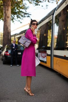 A classic shirtdress in a pop of Deep Orchid is the perfect summertime work look.