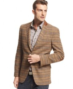$225, Orange Jacket Brown Plaid Blazer Slim Fit by Tallia. Sold by Macy's. Click for more info: http://lookastic.com/men/shop_items/48121/redirect