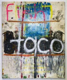 Oscar Murillo, 2012 Fish Taco, spray paint, oilstick, oil, dirt on canvas