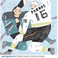 Anaheim Ducks George Parros illustration by Nikkothelion  (george commented!!!!)