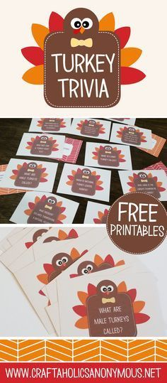 Craftaholics Anonymous®️️   Thanksgiving Table Craft: Turkey Trivia Cards
