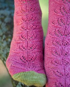 This lace pattern reminds me of a refreshing slice of watermelon on a hot summer day. You could substitute many colors of yarn to represent different kinds of fruit. This sock could be made out of a multitude of different kinds of sock yarn, but the lace would show best in a solid or slightly semi-solid yarn.