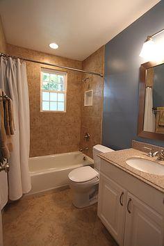 small bathroom idea--like the angled floor tiles