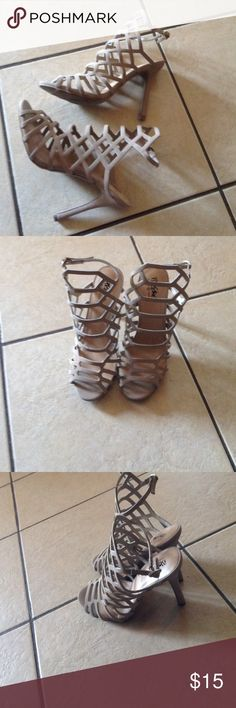 """Lattice Strappy heels Sexy Strappy  heels. Al man made materials. With a buckle closure on the ankle. 4"""" heel. Worn 1 time for about an hour. Mossimo Supply Co Shoes Heels"""