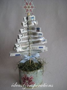 Christmas money trees for Christmas Christmas Time, Christmas Crafts, Christmas Decorations, Christmas Ornaments, Christmas Ideas, Homemade Gifts, Diy Gifts, Don D'argent, Money Trees
