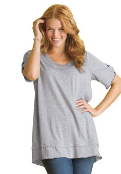 Plus Size Top in mega tunic knit with layered look | Plus Size tunics | Woman Within $27
