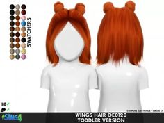 Wings hair toddler conversion by redheadsims Los Sims 4 Mods, Sims 4 Game Mods, Sims 4 Toddler Clothes, Sims 4 Cc Kids Clothing, Sims Four, The Sims 4 Pc, Sims 4 Cc Skin, Sims Cc, The Sims 4 Bebes