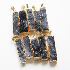 One Piece Natural Hand Cut Raw Brass Framed Agate Druzy Pendant (5)