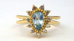 Yellow Gold Aquamarine Diamond And - Appraised Ring off retail Wholesale Engagement Rings, Luxury Engagement Rings, Beautiful Engagement Rings, Vintage Diamond Rings, Vintage Rings, Vintage Jewelry, Vintage Yellow, Bridal Jewelry, Brooch