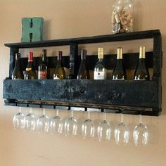 Reclaimed wood wine rack @Melissa Blanton - your DH could make this!!
