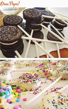 Funny pictures about Oreo Pops. Oh, and cool pics about Oreo Pops. Also, Oreo Pops photos. Oreo Pops, Brownie Pops, Brownie Oreo, Oreo Brownies, Cookie Pops, Bake Sale Treats, Bake Sale Recipes, Cooking Recipes, Diabetic Recipes