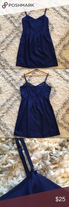 🎉SALE🎉J. Crew Factory Dress Fit & flare dress in a beautiful, deep royal blue color. Even has pockets! In perfect condition other than the tear starting in the top left corner of the dress noted in final picture (which I've temporarily fixed with a pin). I'm sure it can be sewn back together pretty easily, the dress just didn't fit me super well to begin with! Feel free to ask questions & reasonable offers are always considered! Sorry, no trades J. Crew Factory Dresses Midi
